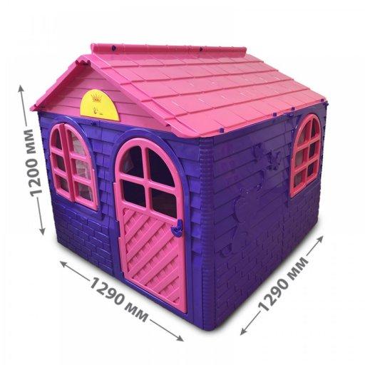 Детский пластиковый домик со шторками для улицы 1290*1290*1200мм, Фламинго