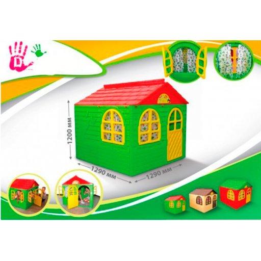 Детский пластиковый домик со шторками для улицы 1290*1290*1200мм Фламинго