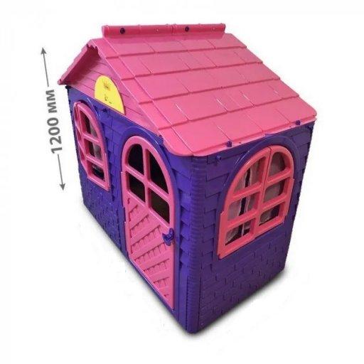 Детский пластиковый домик со шторками для улицы 1290*690*1200мм Фламинго