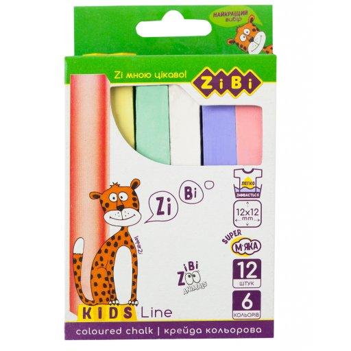 Крейда кольорова квадратна 12 штук, картонна коробка, KIDS Line