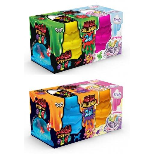 """В'язка маса """"2 в 1 """"Mega Stretch Slime"""" та """"Fluffy Slime"""" рос (6)"""