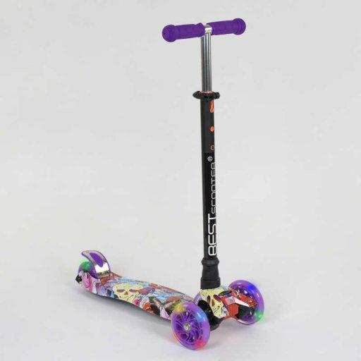 "Самокат MAXI ""Best Scooter"" 4 колеса PU. СВЕТ, d=12см в коробке"