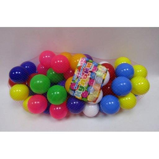 Шарики (мячики) мягкие (пластиковые) для сухого бассейна 60штв сетке диаметр8см Бамсик