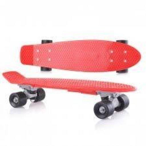 Скейт детский Красный в пакете, PVC колеса,Фламинго //