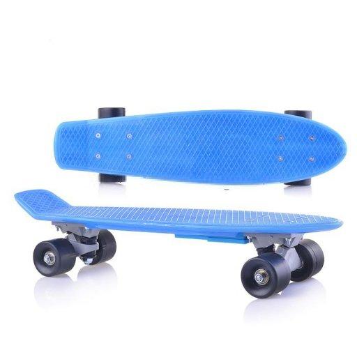 Скейт детский Синий в пакете,PVC колеса, Фламинго //